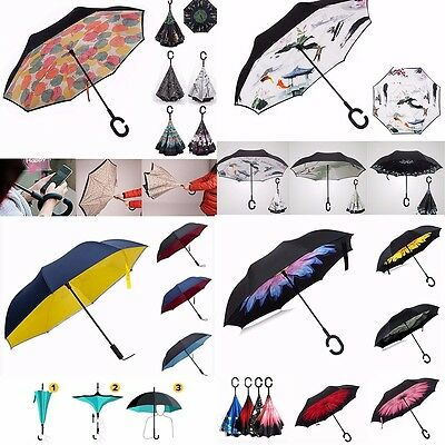 Sun Rain Windproof Upside Down Double Layer Inverted Umbrella Reverse C/J Handle