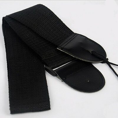 Black Leather Strap For Electric Acoustic Guitar Bass Adjustable Soft