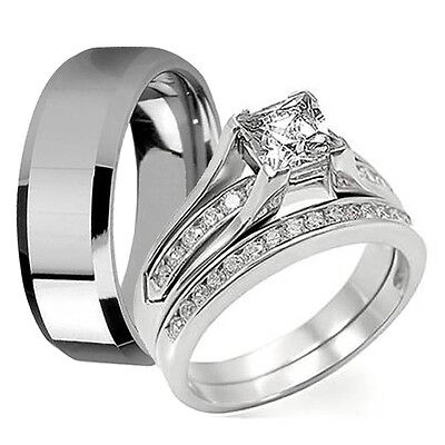 3 Pcs His Hers Stainless Steel Princess Cut CZ Wedding Engagement Ring Band Set
