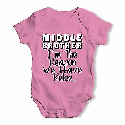 Twisted Envy Middle Brother Rules Baby Unisex Funny Baby Grow Bodysuit