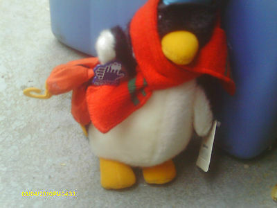 "Vintage 1986 APPLAUSE plush 11"" Holiday PERCY PENGUIN w/Top Hat & Skates w/Tag"
