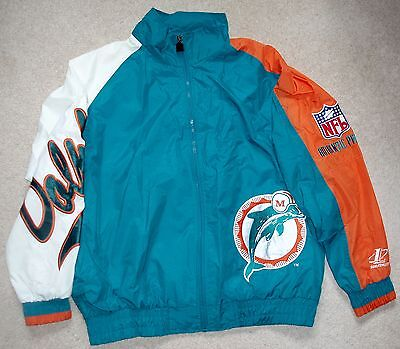 Miami Dolphins NFL Football Jacket RARE Vintage Classic Logo Athletic Size XL
