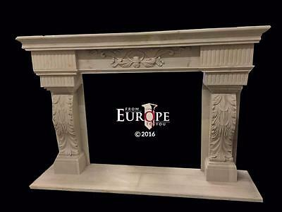 Beautiful Hand Carved Marble  Massive  Fireplace Mantel - Jd202