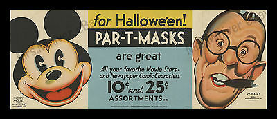 1933 MICKEY MOUSE POSTER  and PAR-T-MASK! 1-of-a-kind WALT DISNEY STORE DISPLAY!