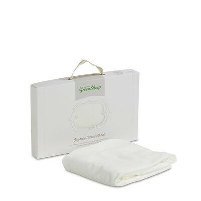 The Little Green Sheep Organic Moses/Pram Jersey 30x70 Fitted Sheet-White