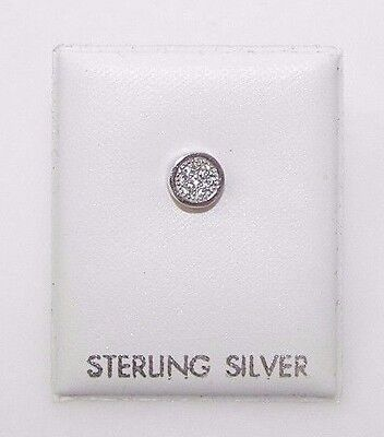 Mens Single 925 Sterling Silver 5mm Round Bezel Set Micro Pave Stud Earring