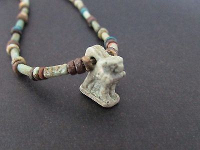 NILE  Anicent Egyptian Horus Amulet Mummy Bead Necklace ca 1200 BC
