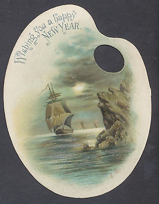 C11304 Victorian Die Cut New Year Card: Moonlit Ships at Sea