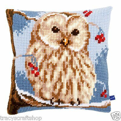 Chunky Cross Stitch Cushion Front Kit Vervaco Winter Owl 40x40cm