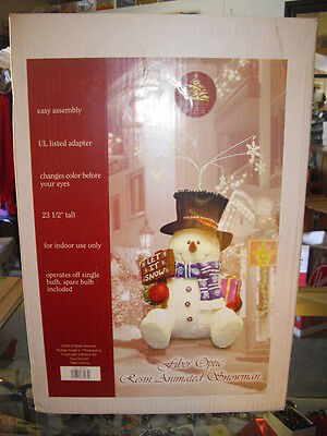 Rare 2004 Enchanted Forest Fiber Optic Resin Animated Snowman Color Changing Nib