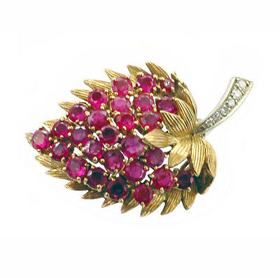 Amazing 18k Gold Diamond Ruby Strawberry Leaf Brooch Antique 1950's