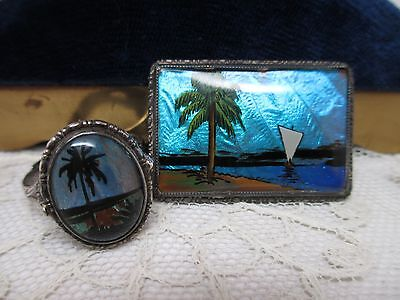 Antique Sterling Silver  Morpho Butterfly Wing Brooch & Ring