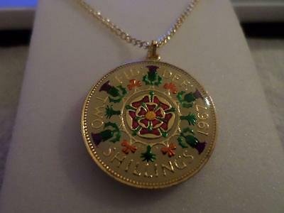 Vintage Enamelled Two Shilling Coin Pendant & Necklace 1967. Birthday Xmas Gift