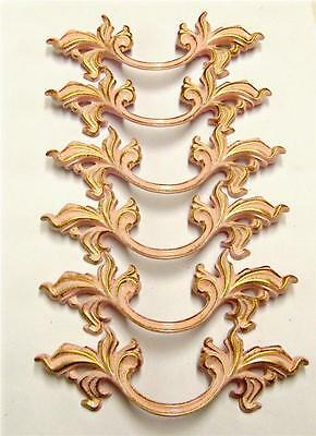 "Lot of 6 French Provincial Pink Gold Pulls 3"" Centers 5-3/4"" Length"