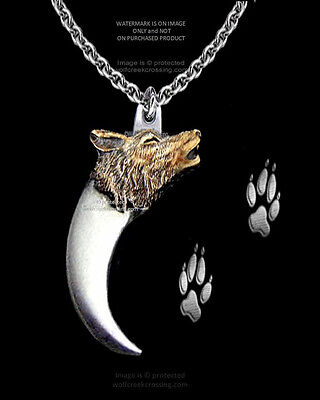 "WOLVES BEAR CLAW & WOLF NECKLACE for MALE or FEMALE - 24"" CHAIN - FREE SHIP  x"
