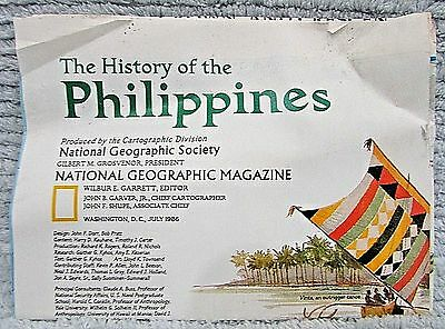 Old 1986 National Geographic Vintage History of the Philippines Map FREE S/H