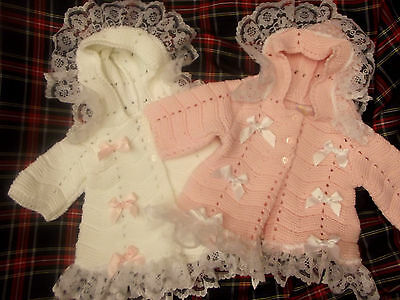 Dream Baby Girls Winter Hooded Knitted Matinee Cardigan Coat White/pink 0-3/3-6