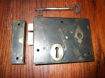 Refurbished Lock With Original Key And Cast Iron  Brassed Edge Keep