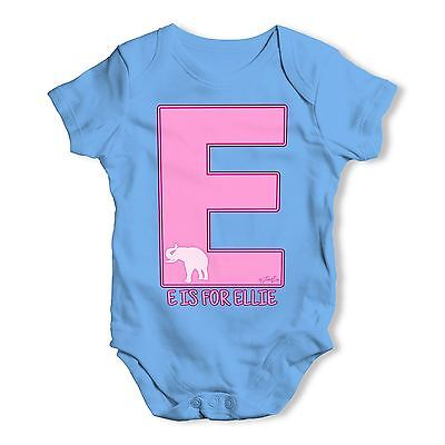 Twisted Envy Personalised Letter E Baby Unisex Funny Baby Grow Bodysuit