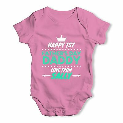 Personalised First Father's Day Baby Unisex Funny Baby Grow Bodysuit