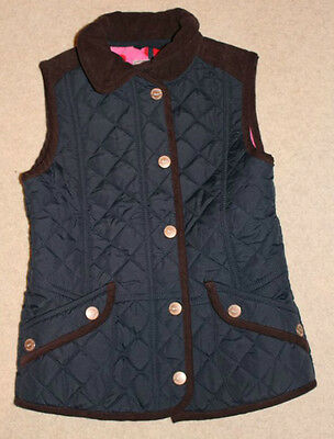 Next Vgc Navy Quilted Gilet Bodywarmer With Cord Trim And Pink Spotty Lining 7-8