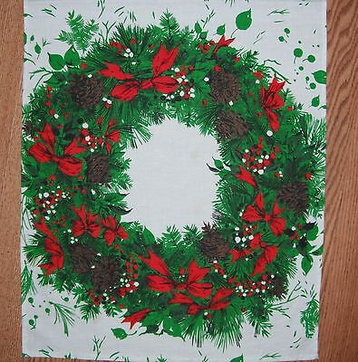 Vintage Christmas Wreath Kitchen Towel Pinecones  Red Bows & Berries  36 X 15.5