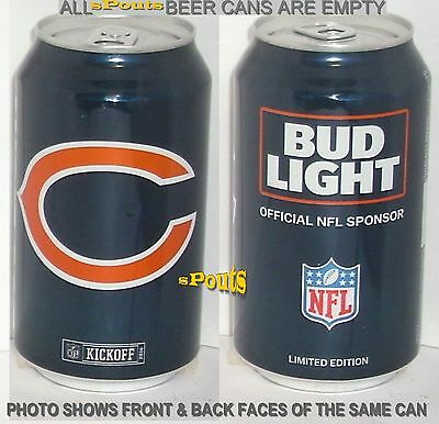 2016 Nfl Kickoff Chicago Bears Bud Light Beer Can Football Il Sport Cub Man Cave