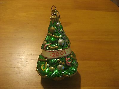 "2001 Blown Glass 6"" Christmas Tree Ornament EXC"