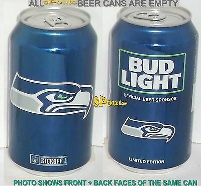 2016 Nfl Kickoff Seattle Seahawks Bud Light Beer Can Football Washington Sports
