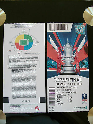 2014 F A Cup Final Ticket Arsenal v Hull City in mint condition.