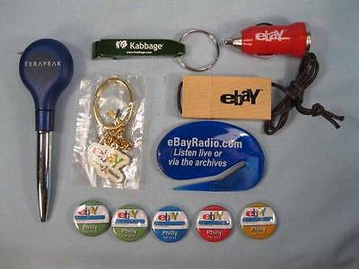 Lot Of 11 Ebay and Ebay Related Items Pins Bottle Opener Flash Drive Charger (O)