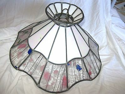 VINTAGE LEADLIGHT STAINED GLASS LIGHT  SHADE Large VGC