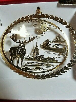 Minnesota Brass Christmas Ornament with Moose & Outdoor Scene