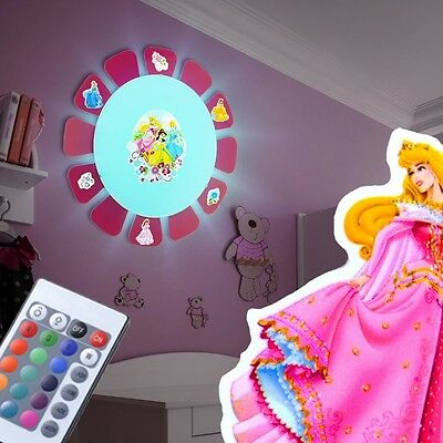 RGB LED Wall Ceiling Lamp Remote control Playroom Princesses Sticker Dimmer