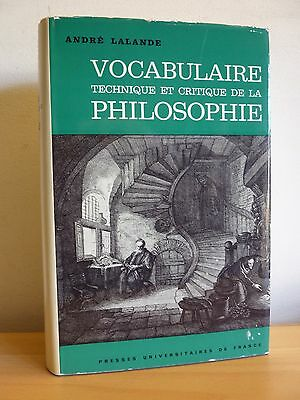 Vocabulaire Technique Et Critique De La Philosophie * Puf1972 * A.lalande