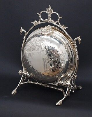 Stunning Silver Plated Victorian Style Biscuit Barrel / Container - Engraved