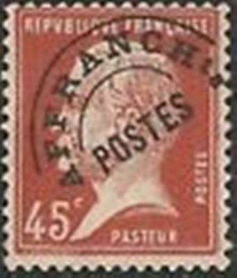 """FRANCE PREOBLITERE TIMBRE STAMP N° 67  """" TYPE PASTEUR 45C ROUGE """" NEUF (x) TB"""