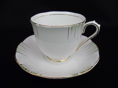 Royal Albert Green And Gold Tea Cups And Saucers