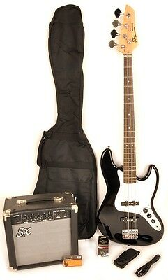 SX Ursa 2 Pack RN BK Bass Guitar Package w/Free Amp Carry Bag and Instruct DVD
