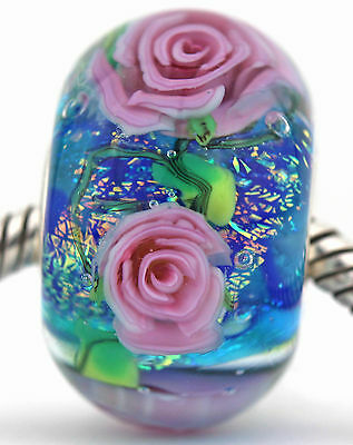 EVENING ROSE GARDEN FOCAL sterling silver charm murano glass bead lampwork MWR