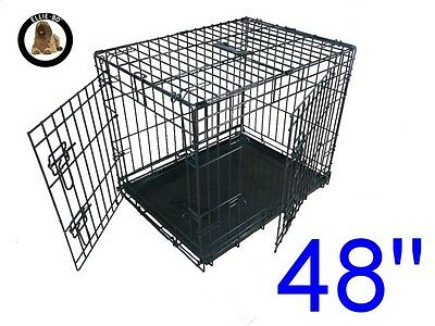 "Ellie-Bo 48"" XXL Dog Puppy Pet Cage Folding Carrier Crate In Black"