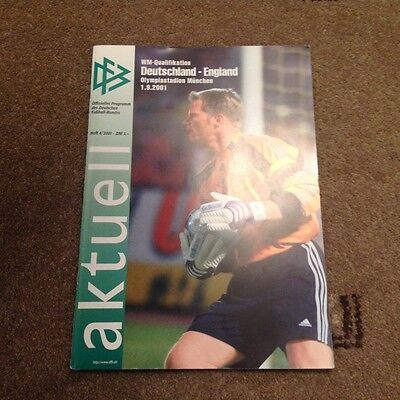 RARE  2001 GERMANY v ENGLAND PROGRAMME 1-5 GREAT CONDITION,