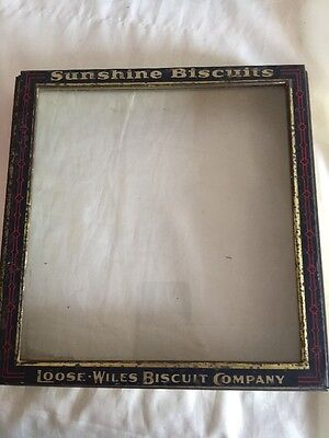 Vintage Sunshine Biscuits Tin Glass Lid Box Cover General Store Display