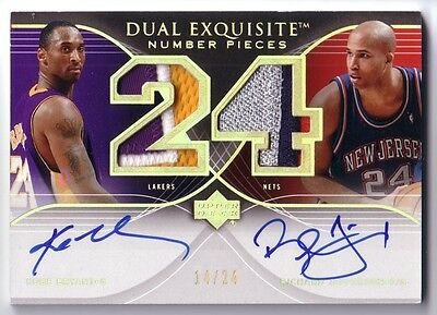 KOBE BRYANT 2007-08 EXQUISITE COLLECTION Numbers Patch AUTOGRAPH 14/24 AUTO