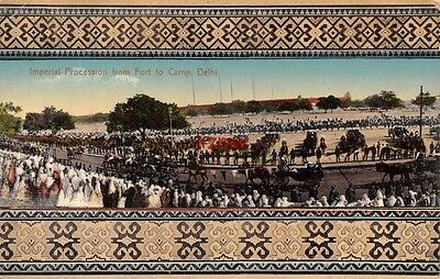 India Delhi Durbar 1911 Imperial Procession From Fort To Camp Decorated Borders