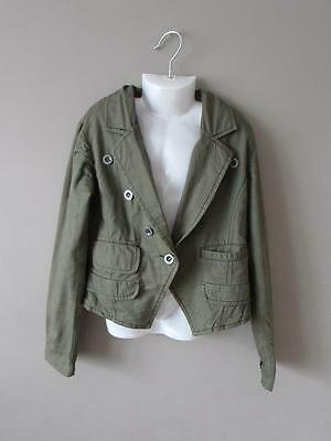NEXT Girl's Khaki Green Cotton Jacket Floral Lining Age 9 - 10 Years VGC