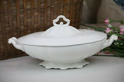 Ironstone Tureen Antique Oval Lace Scroll Relief Pttrn Lid Serving Casserole