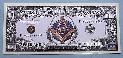 Masonic Million Dollar Bills- Fun Item -Lot Of 10 - More Freemason Items Listed