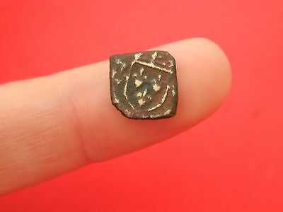 Tiny Post Medieval bronze Gold coin weight shield metal detecting detector