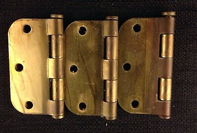 Large heavy metal 3-1/2 hinges with pins - Set of 3
